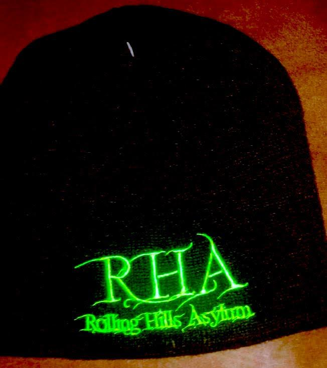 Beanie (Black with Green Embroidery)