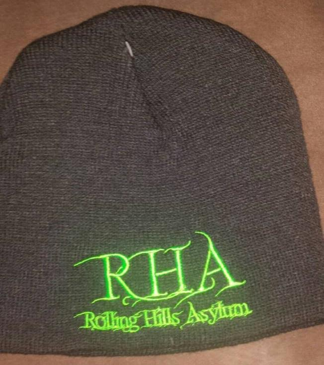 Beanie (Dark Grey with Green Embroidery)