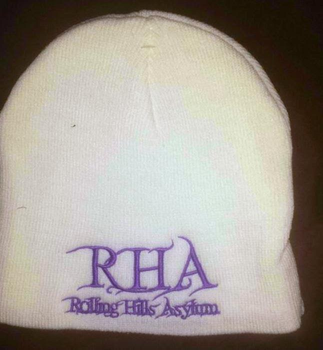 Beanie (White with Purple Embroidery)